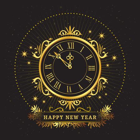 watch new year: Retro golden watch happy New Year, Vintage mechanism