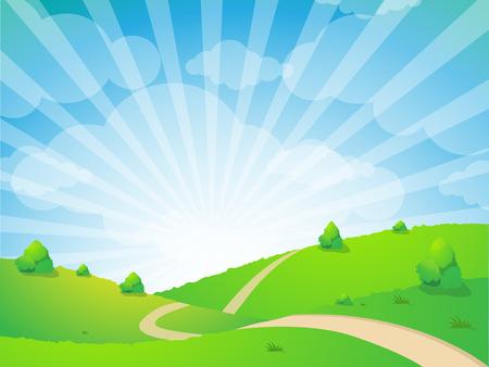 grass land: Green Landscape background, Summer sunrise beautiful picture Illustration