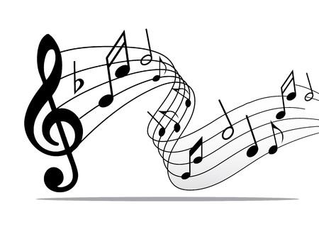 Pentagramm Notenlinien horizontal, klassische musikalische Elemente