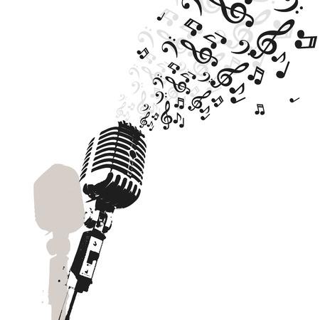 microfono antiguo: Micrófono retro del vector de la música, la radio o un concierto de Jazz Vectores
