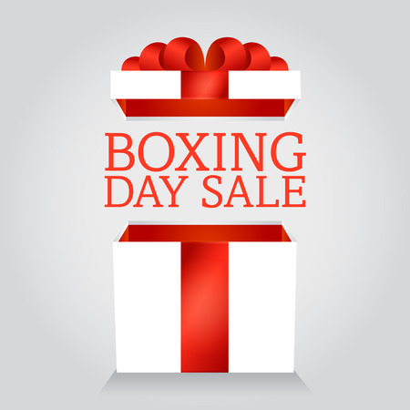 boxing day sale: box boxing day sale, Christmas gift with the lid open Illustration