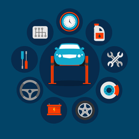 vehicle breakdown: Garage icons, car maintenance in the service station