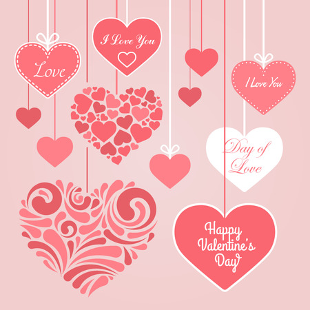 charisma: Valentines Day hearts, stickers printing, hanging on a rope Hearts