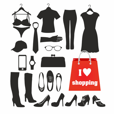 garments: shopping silhouette clothes, a set of garments Illustration
