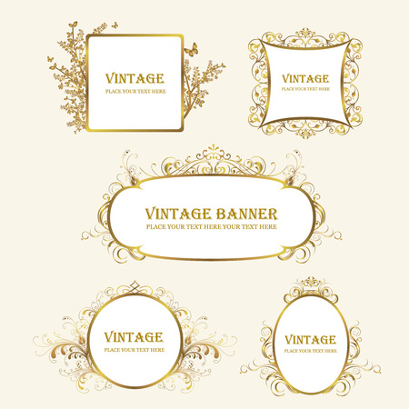 rectangle: gold frame, beautiful decorative golden frame, ornamental plant