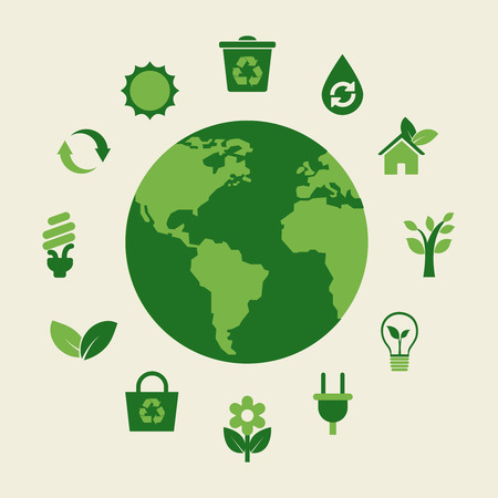 Eco earth and green icons, environmentally healthy foods Illustration
