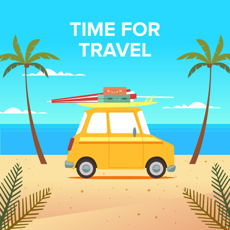 Machine travel with a surfboard and background Illustration