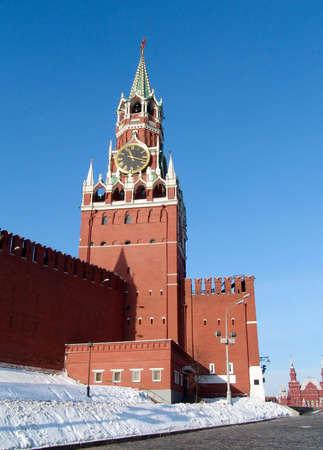 Saivoury (nombre ruso-Spasskaya) torre del Kremlin de Moscú con horologio  Foto de archivo - 7817666