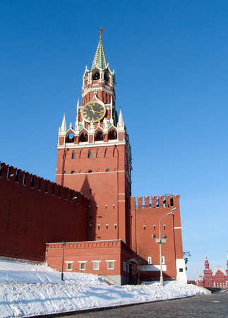 Saivoury (russian name-Spasskaya) tower of Moscow Kremlin with horologium photo