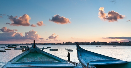 alexandria egypt: Sunrise at Eastern harbor of Alexandria city, Egypt Stock Photo