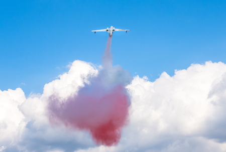 amphibious: Russias amphibious aircraft Beriev Be-200ES dropped water bomb as imitation of wildfire extinguishing during airshow in Gelendzhik,Krasnodar region,Russia,September 25,2016