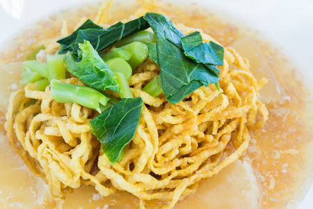 fried noodle: Fried noodle with pork close up viwe Stock Photo