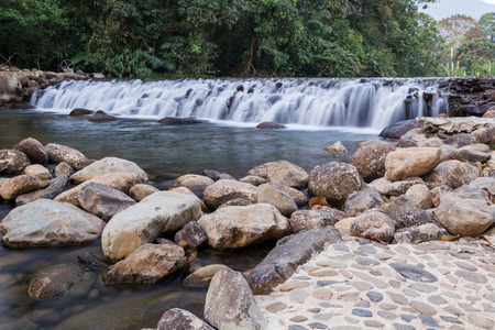 floodgates: Dam handmade with stones A small river Stock Photo