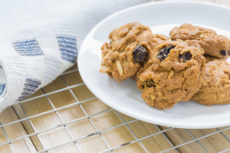 Homemade Raisin cookies, Tasty cookies For an afternoon snack Banco de Imagens