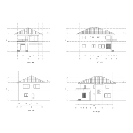 elevation: vector line drawing illustration of house viewed 4 elevation Stock Photo