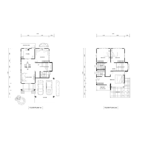 autocad: Architecture plan drawing design house, Plans downstairs and upstairs. Stock Photo