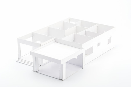 prefabricated: Plan home 3D on white background Stock Photo