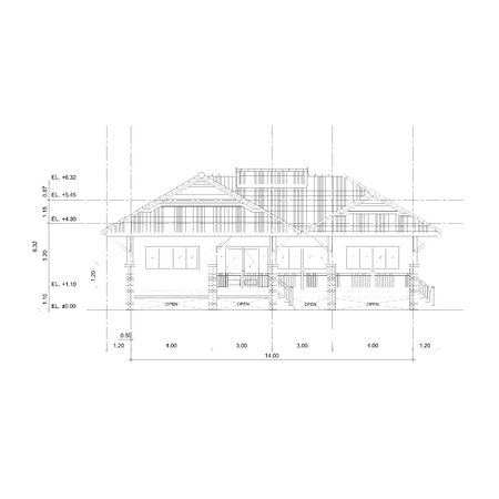 thai style: Thai style home designs, Drawing front view elevation plan.