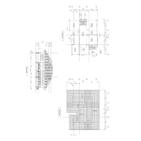 elevation: Thai style home designs, Drawing plan & front view elevation. Stock Photo