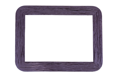 rounded edges: Old wooden frame rounded edges isolated on white background  with clipping path