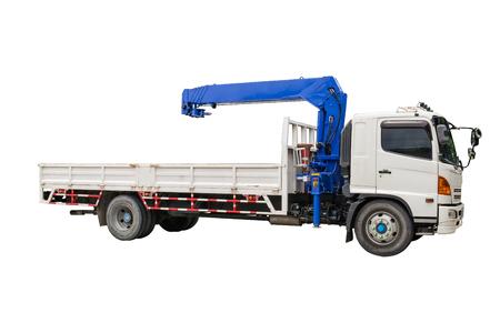 Boom Truck Crane isolated on white background Stock Photo