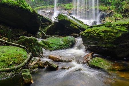 no movement: beautiful sight of waterfall in the jungle Stock Photo
