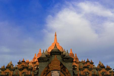 Sandstone Pagoda Pakung temple Landmarks of Roi ed, Thailand. Film classic tone.