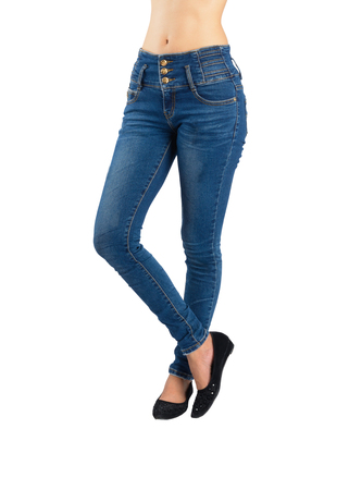 Woman blue jeans isolated section below on white background with clipping path.