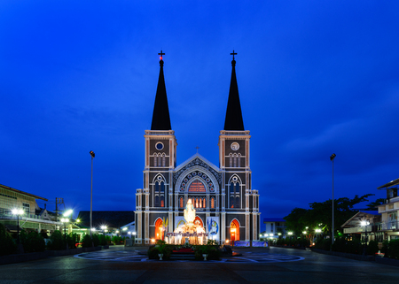 Chanthaburi, Thailand - May 29, 2016: The Cathedral of the Immaculate Conception in night time, landmark of Chanthaburi