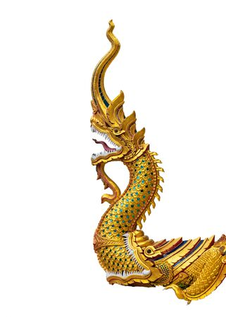 Thai Dragon or Serpent statue isolated on white background. Is the art of Thailand that can be seen in temple.