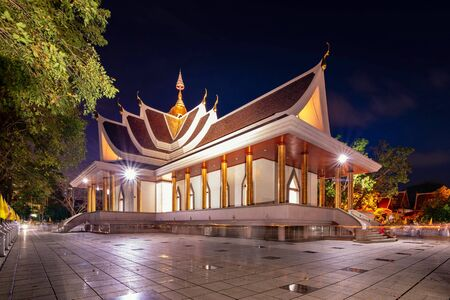 Wat Pa Pradu Temple at Rayong Province, Thailand in nighttime.