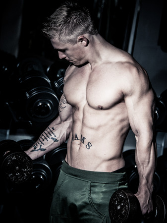fitnesscenter: Young bodybuilder training weights in gym