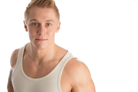 fitnesscenter: portrait of young smiling healthy man