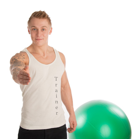 fitnesscenter: Personal trainer greeting