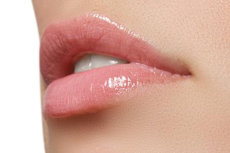 pink lips: Beautiful full pink lips. Lipstick. Professional make-up Stock Photo