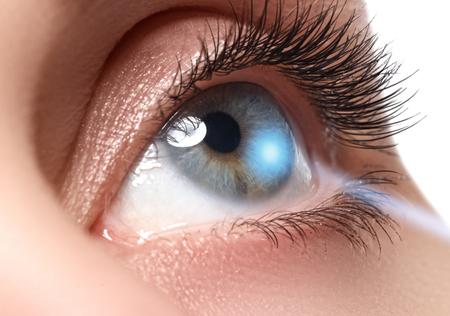 Laser vision correction. Womans eye. Human eye. Woman eye with laser correction. Eyesight concept