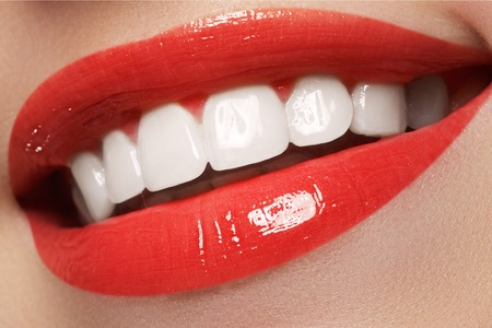 oral care: Woman teeth before and after whitening. Happy smiling woman. Dental health concept. Oral care. Stock Photo