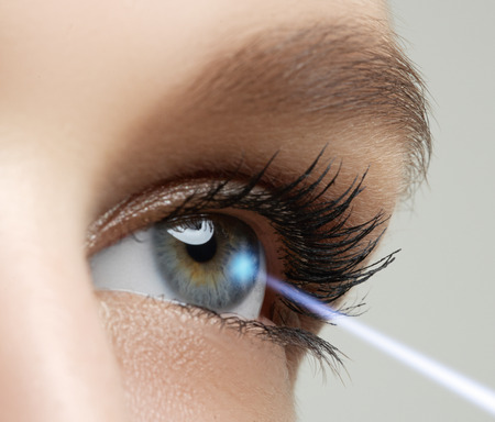 opthalmology: Laser vision correction. Womans eye. Human eye. Woman eye with laser correction. Eyesight concept