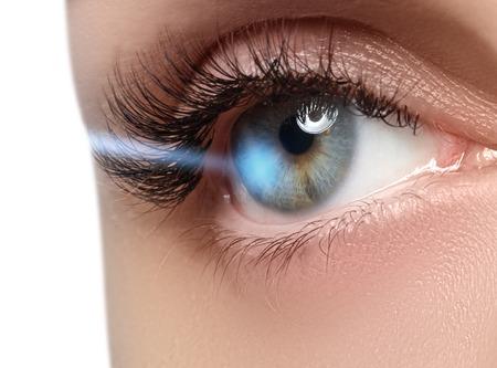correction: Laser vision correction. Womans eye. Human eye. Woman eye with laser correction. Eyesight concept