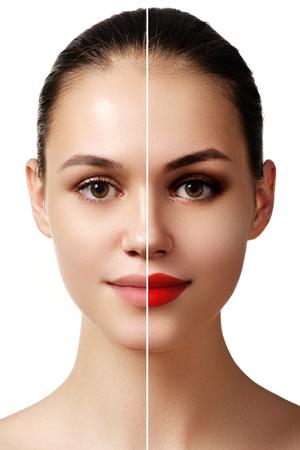 아름 다운 젊은 여자 메이크업 적용 전후. 비교 초상화. 메이크업 유무에 관계없이 모델 얼굴 두 부분. 얼굴의 두 부분, 밝은 메이크업과 자연스러운 스톡 콘텐츠
