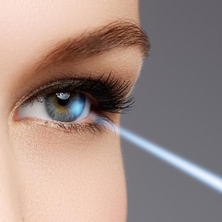 Ooglasercorrectie. oog van de vrouw. Menselijk oog. Vrouw oog met laser correctie. gezichtsvermogen begrip