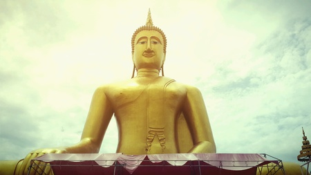 gold: Buddha, at temple in Thailand. Stock Photo