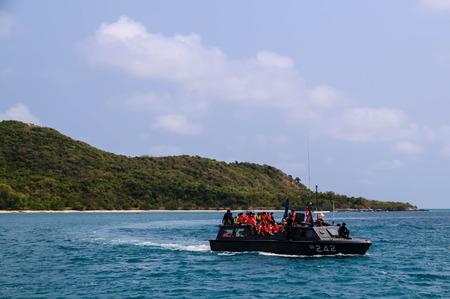 snorkling: CHONBURI THAILAND - MAR 4 traveler for snorkling on boat on March 4, 2015 at Koh Samaesarn Chonburi, Thailand Editorial