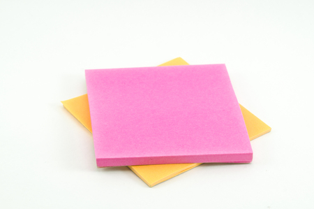 postit: pink and orange post-it on white background