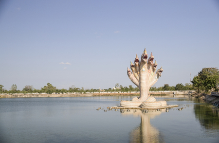 vowel: Naga statue on pool. selective focus and soft image. Stock Photo