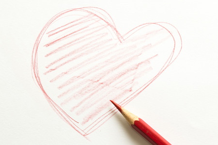Red heart  from red pencil. Stock Photo