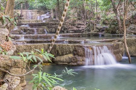 khamin: Huai Mae Khamin Waterfall in Thailand. Stock Photo
