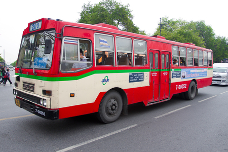 BANGKOK, THAILAND - DECEMBER 20 2010: Asian city bus driving