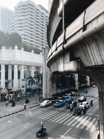 BANGKOK, THAILAND - JANUARY 20, 2018: Morning traffic main street of Bangkok.