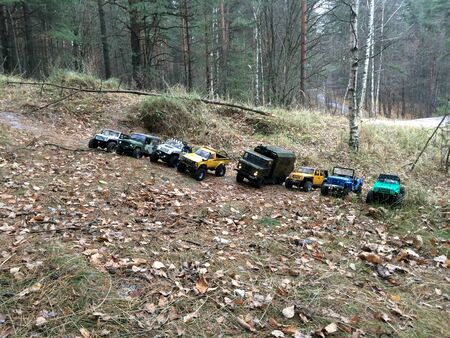 SAINT-PETERSBURG, RUSSIA - NOVEMBER 11, 2014: Rc trophy cars ready for offroad. Driving in forest